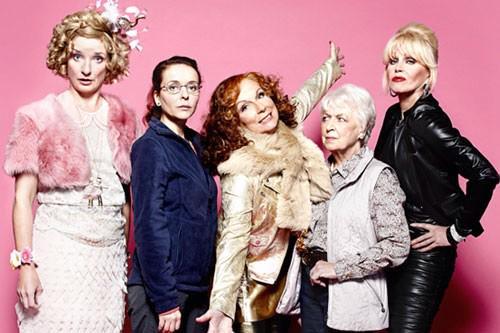 Absolutely Fabulous - main cast (lr) Bubble (Jane Horrocks), Saffron Monsoon (Julia Sawalha), Edina Monsoon (Jennifer Saunders), Patsy Stone (Joanna Lumley), Mother (June Whitfield)