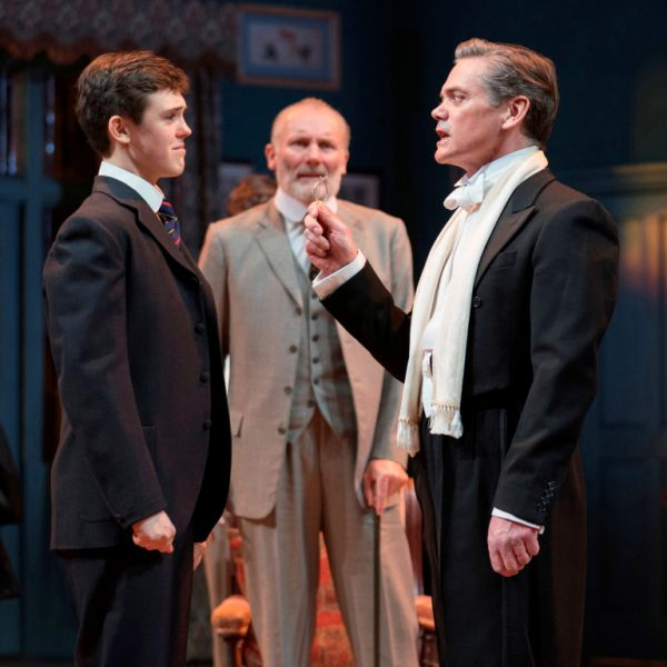 (L-R) Misha Butler as Ronnie Winslow, Aden Gillet as Arthur Winsow and Timothy Watson as Sir Robert Morton / Alastair Muir